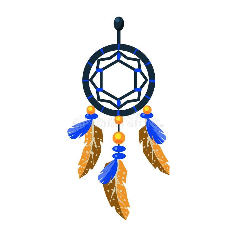 Verzierter Dreamcatcher-Charme, gebürtiges indianisches Kultur-Symbol, ethnischer Gegenstand von Nordamerika lokalisierte Ikone stock abbildung