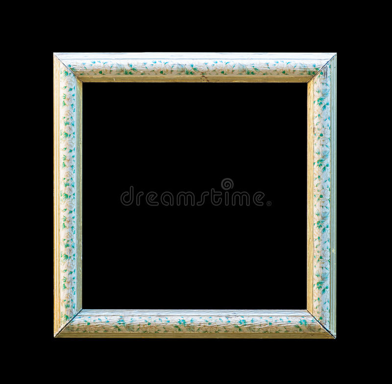 Verzierter weißer hölzerner leerer Bilderrahmen lokalisiert auf Schwarzrückseite stockfoto