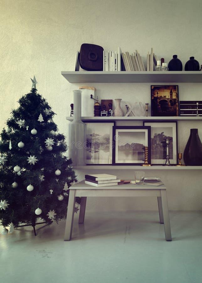 Verzierter Weihnachtsbaum in einer angenehmen Wohnung lizenzfreie abbildung