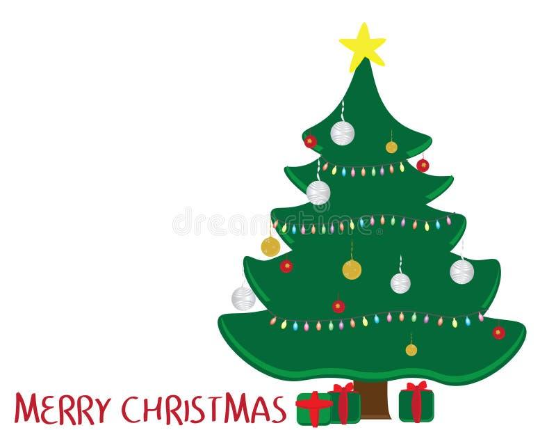 Verzierter Weihnachtsbaum, grüne und rote Geschenke und Gruß der frohen Weihnachten auf weißem Hintergrund vektor abbildung