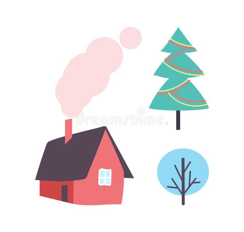 Verzierter Weihnachtsbaum, Winter-Betriebsikone, Haus vektor abbildung