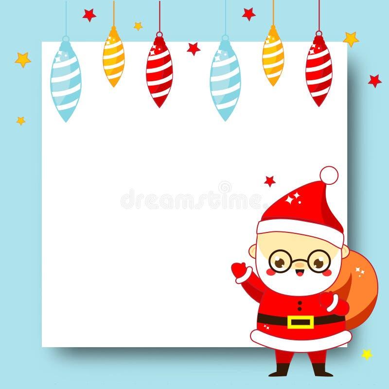 Verzierter Weihnachtsrahmen Hintergrund des freien Raumes des neuen Jahres mit netter Karikatur Santa Claus und Flitter lizenzfreie abbildung