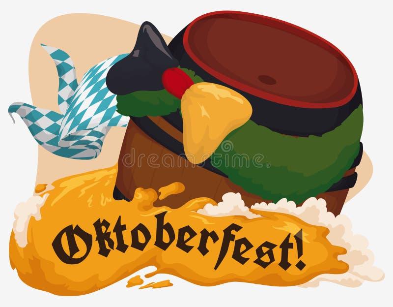 Verziertes Fass mit Bier für Oktoberfest, Vektor-Illustration vektor abbildung
