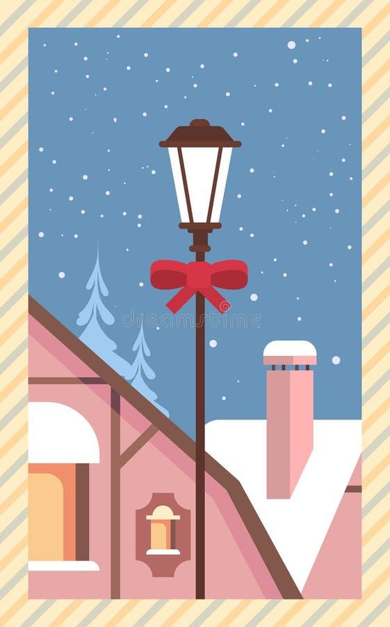 Verziertes Laterne Snowy-Haus-guten Rutsch ins Neue Jahr-frohe Weihnacht-Gruß-Karten-Retro- Plakat lizenzfreie abbildung