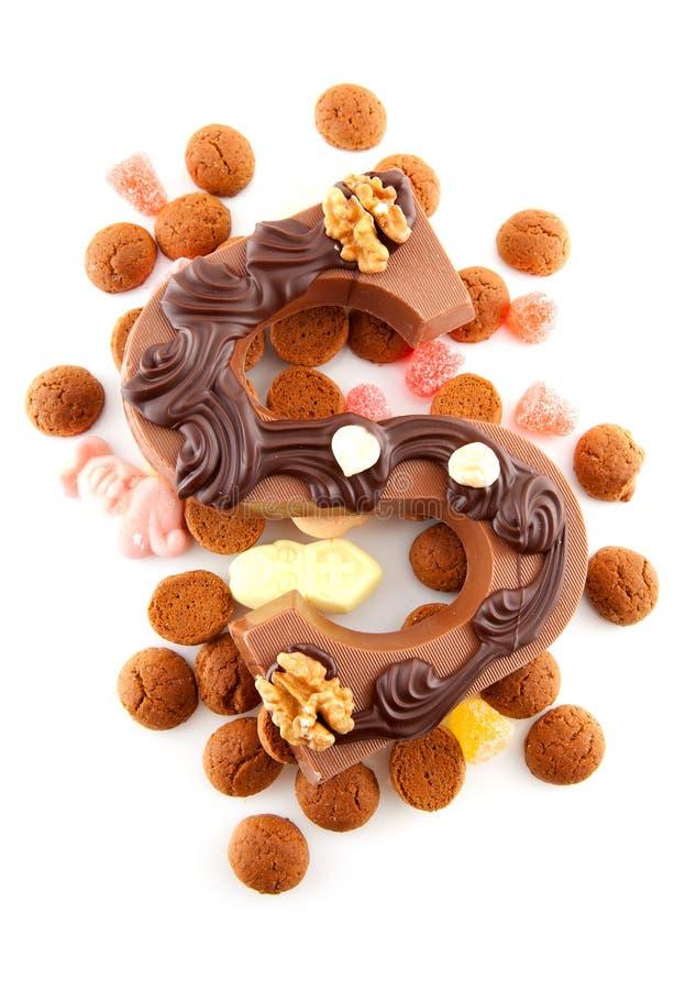 Verziertes Schokoladenzeichen S für Sinterklaas stockfoto