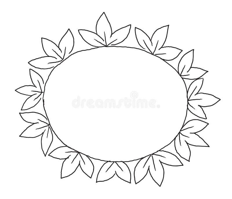 Verzierung des Blattrahmens im Kreis, der drei Blätter zeichnet vektor abbildung