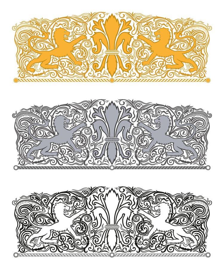 Verzierung mit Lilie und heraldischen Löwen stock abbildung
