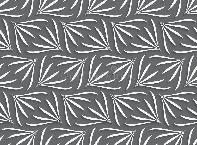 Verzierung mit weißen geometrischen Blumenformen auf grauem Hintergrund stock abbildung