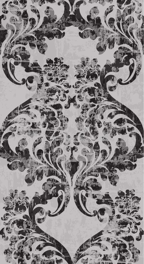 Verzierungs-Muster Vektor der Weinlese barocker Viktorianische königliche Beschaffenheit Dekorative Entwurfsvertikale der Blume M vektor abbildung