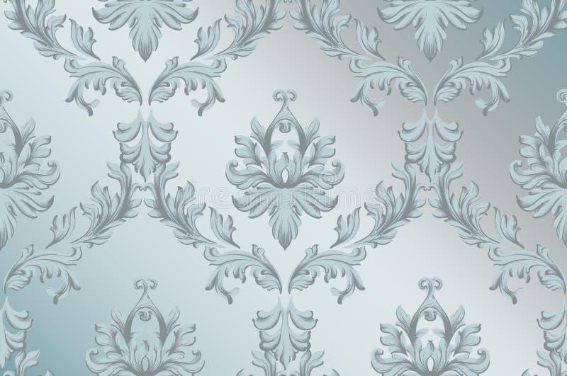 Verzierungs-Musterhintergrund des Vektors barocker Gewebebeschaffenheiten des handgemachten reichen Dekors der Weinlese blaue lizenzfreie abbildung