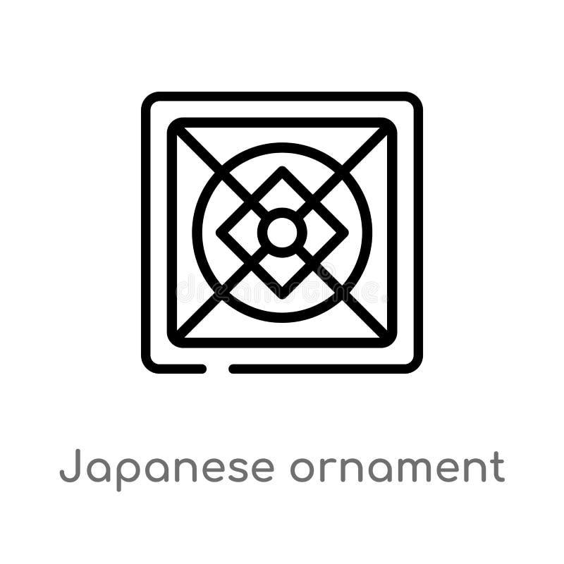 Verzierungs-Vektorikone des Entwurfs japanische lokalisiertes schwarzes einfaches Linienelementillustration vom Kunstkonzept Edit stock abbildung