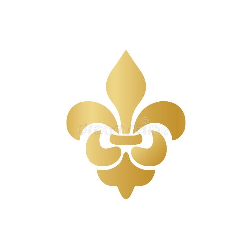Verzierungsikone Vektorgold-Fleur de Lis auf weißem Hintergrund Königliches heraldisches Symbol Auch im corel abgehobenen Betrag stock abbildung