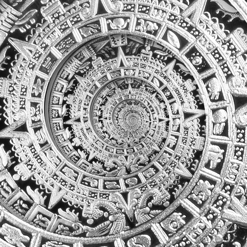 Verzierungsmusterdekorations-Entwurfshintergrund der silbernen schwarzen alten antiken traditionellen Spirale aztekischer Surreal stockfotos
