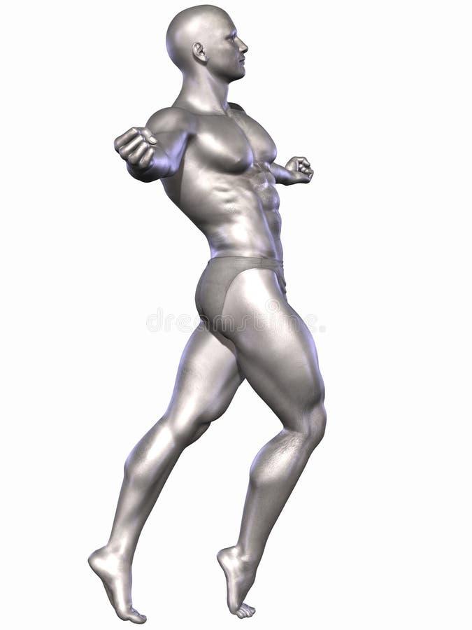 Verzilver Bodybuilder royalty-vrije illustratie