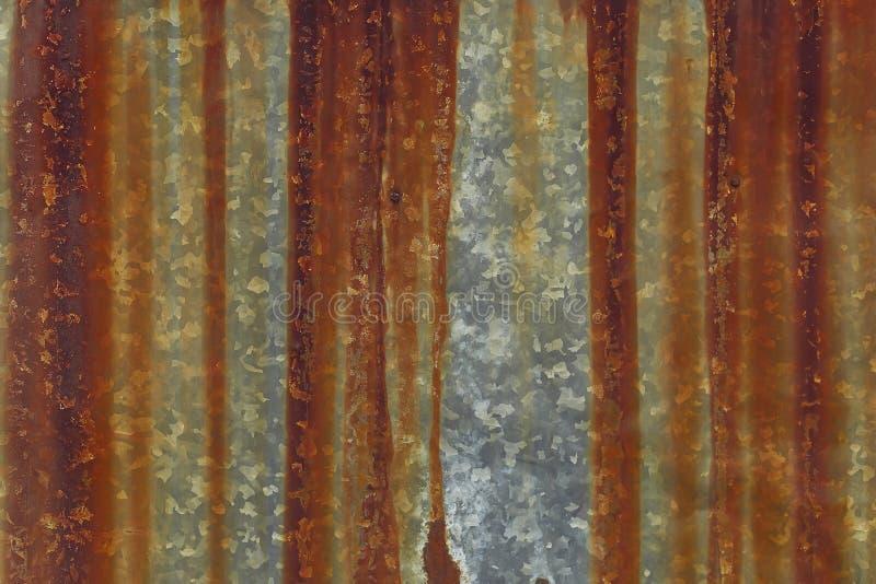 Verzinkter Stahl mit Roststreifen stockbild