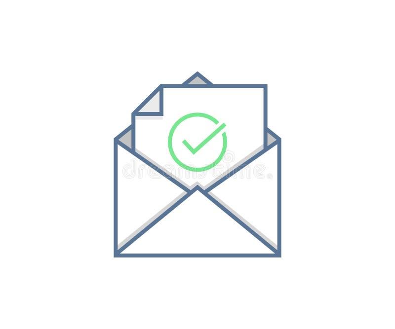 Verzonden e-mail of Ontvangen pictogramconcept Envelop met vinkje vectorontwerp royalty-vrije illustratie