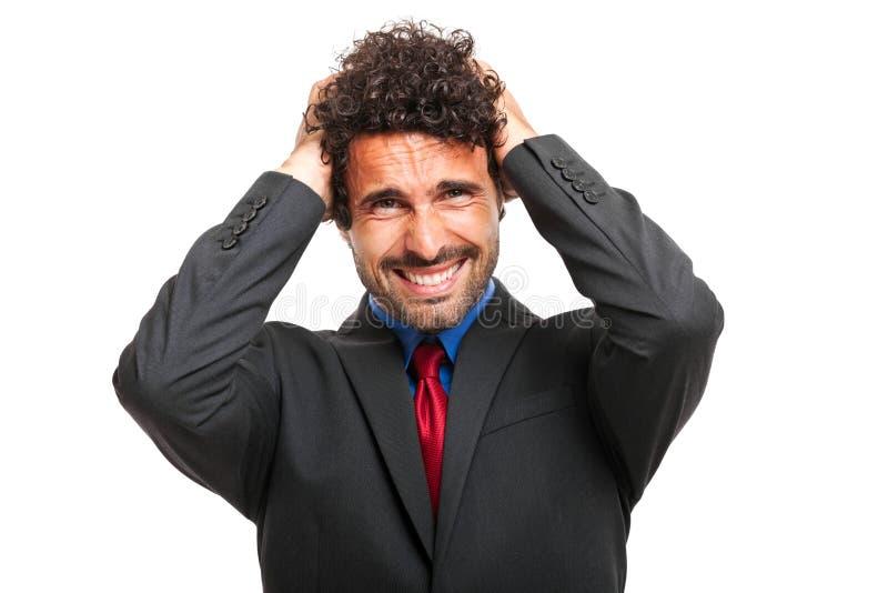Verzweifelter Geschäftsmann lokalisiert auf whtie stockbilder