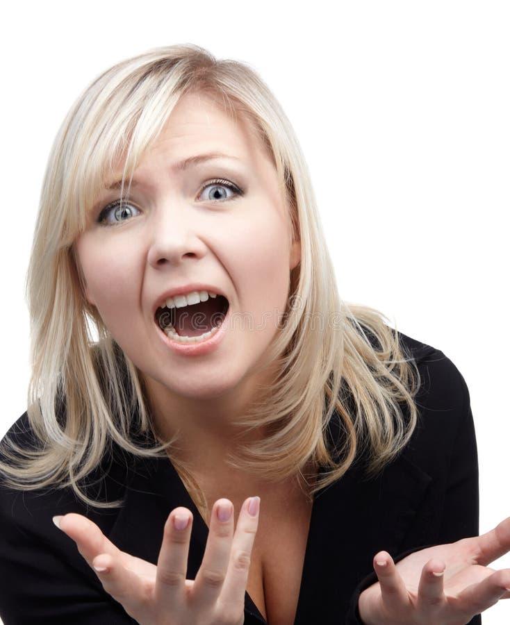 Verzweifeltes blondes Mädchen lizenzfreie stockfotos