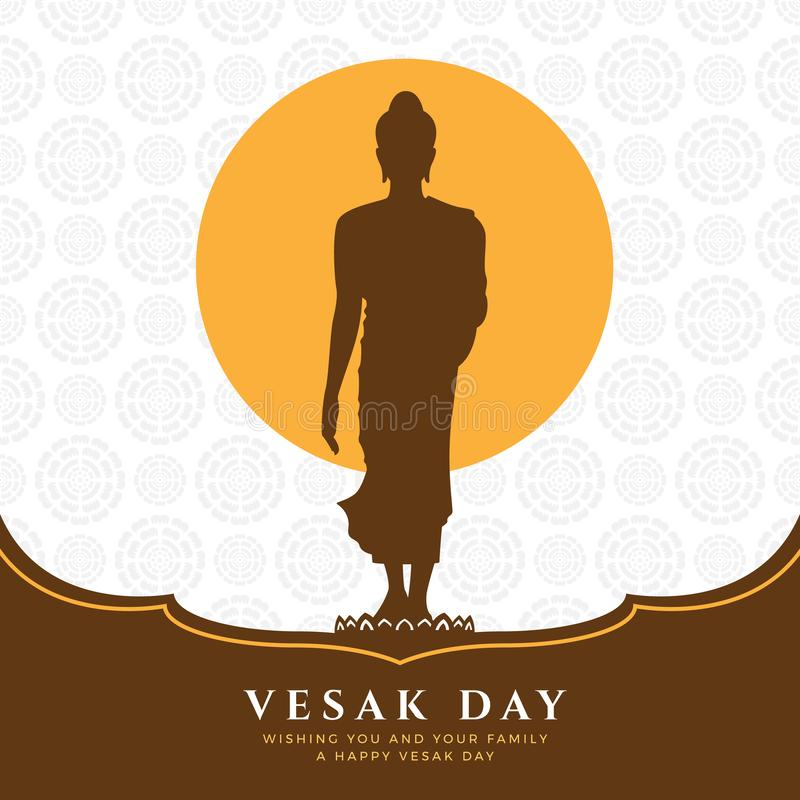 Vesak day banner with Buddha Sign Stand Up on lotus and full moon on lotus abstract texture background vector design vector illustration