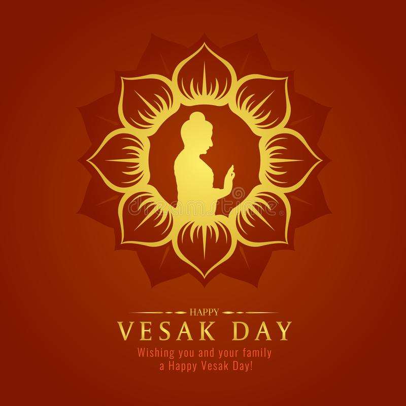 Vesak day banner card with Gold Buddha sign in Lotus petals circle frame vector design stock illustration