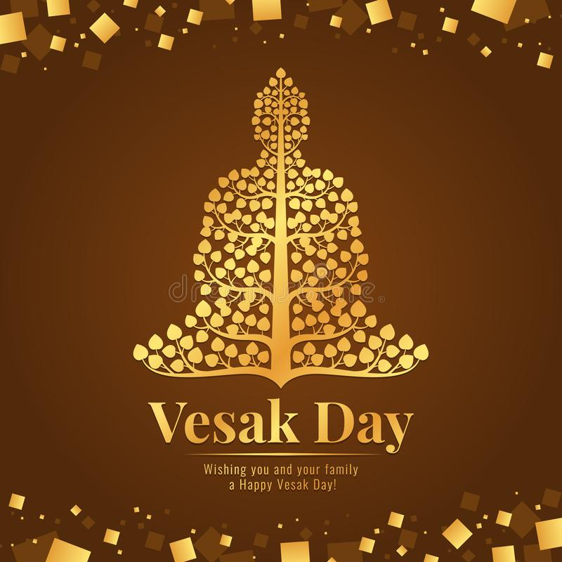 Vesak day banner gold Buddha with bodhi tree Sign on abstract brown gold background vector design royalty free illustration