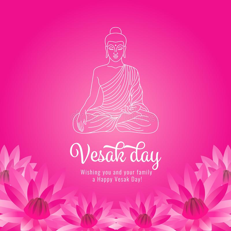 Vesak day banner with white abstract line buddha and pick lotus on pink background vector design stock illustration