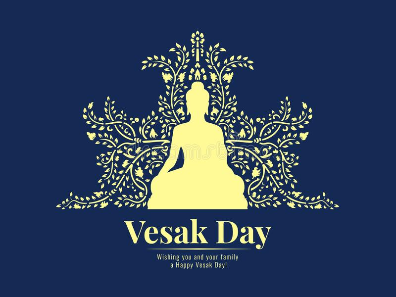 Vesak day banner with yellow buddha sit and abstract Vine pattern on dark blue background vector design royalty free illustration