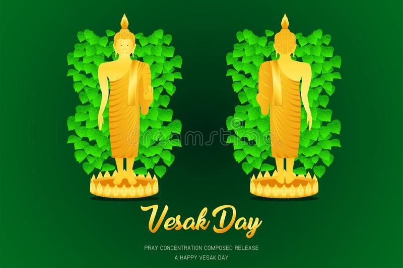 Vesak day buddha monk phra stand front - back view pray concentration composed release front of pho leaf religion culture faith vector illustration