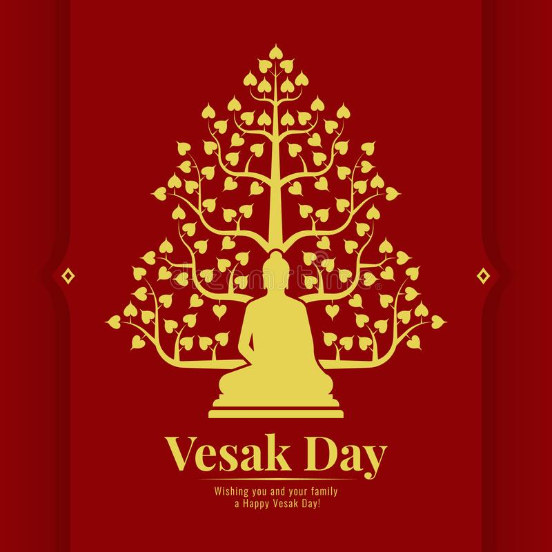 Vesak dnia sztandaru karta z żółtym złotem Buddha i Bodhi drzewa znak na czerwonego tła wektorowym projekcie royalty ilustracja