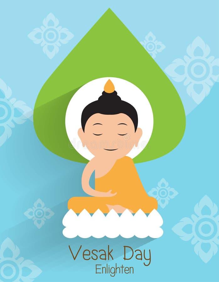 Vesak dzień Buddha Oświeca na lotosowym wektorze royalty ilustracja