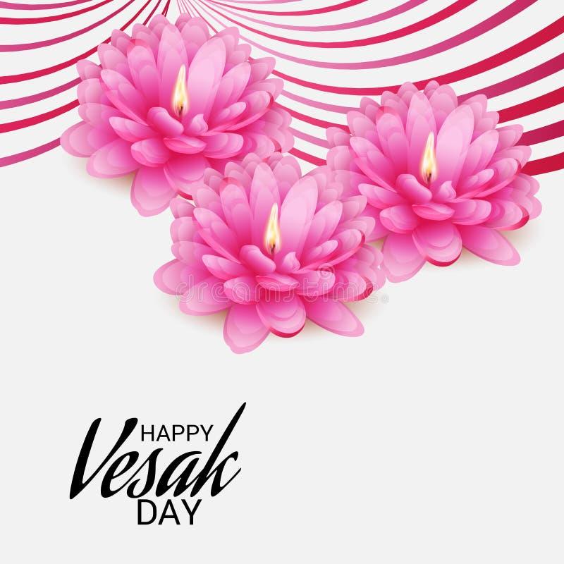 Vesak dzień z Różowym Lotosowym kwiatem ilustracji