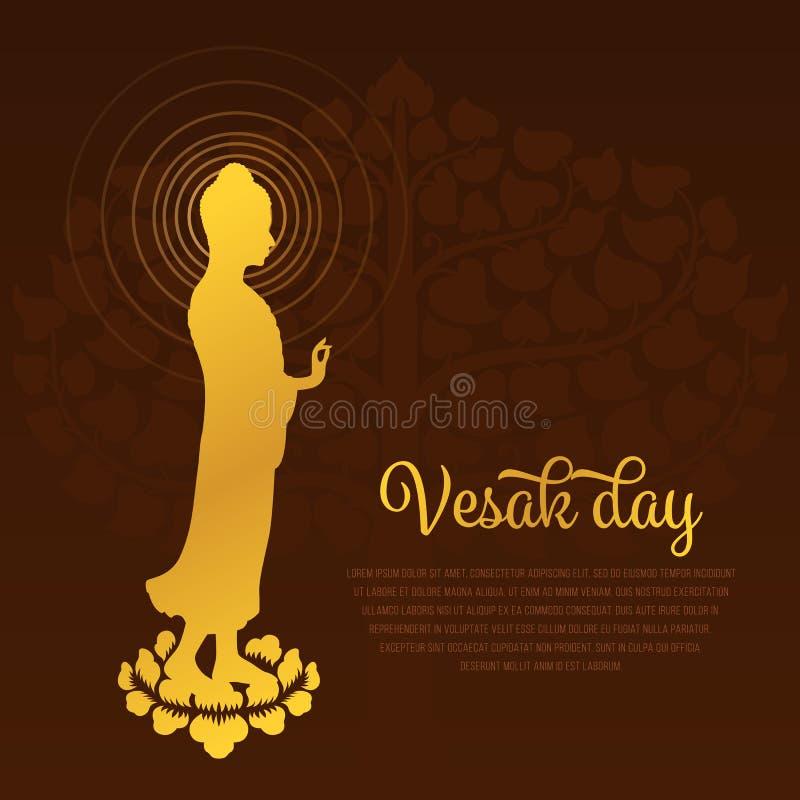 Vesakdag met het gouden standbeeld die van Boedha zich op lotusbloem en Bodhi-Boom vectorontwerp als achtergrond bevinden stock illustratie