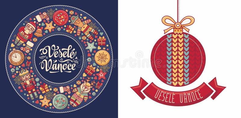 Vesele Vanoce Feliz Navidad del texto checo ilustración del vector