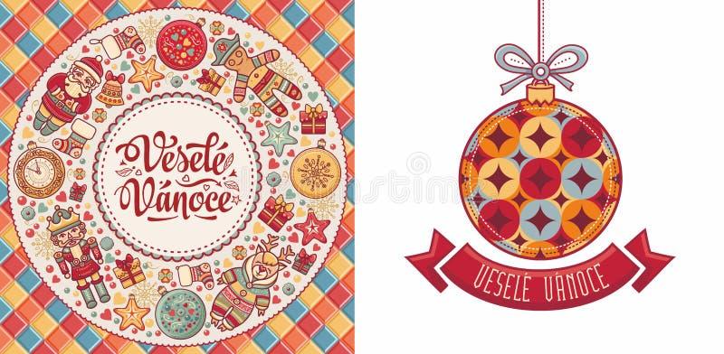 Vesele Vanoce Feliz Navidad del texto checo libre illustration