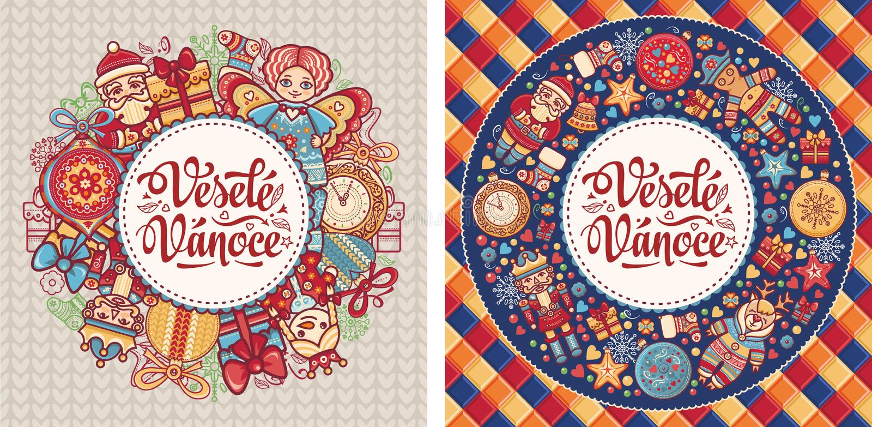Vesele Vanoce Feliz Navidad del texto checo stock de ilustración