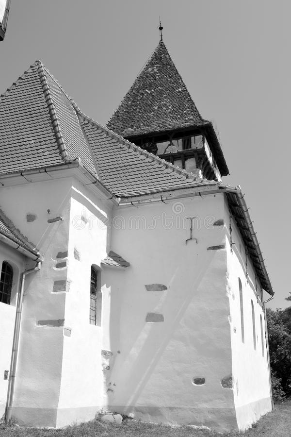 Tower. Fortified medieval saxon church in Veseud, Zied, is a village in the commune Chirpăr from Sibiu County. Veseud, Zied, a village in the commune Chirp royalty free stock photography