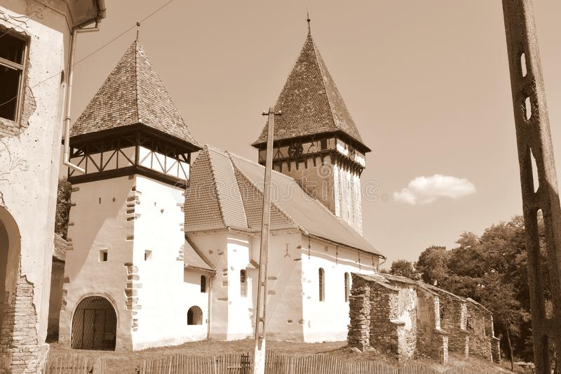 Tower. Fortified medieval saxon church in Veseud, Zied, is a village in the commune Chirpăr from Sibiu County. Veseud, Zied, a village in the commune Chirp stock photography