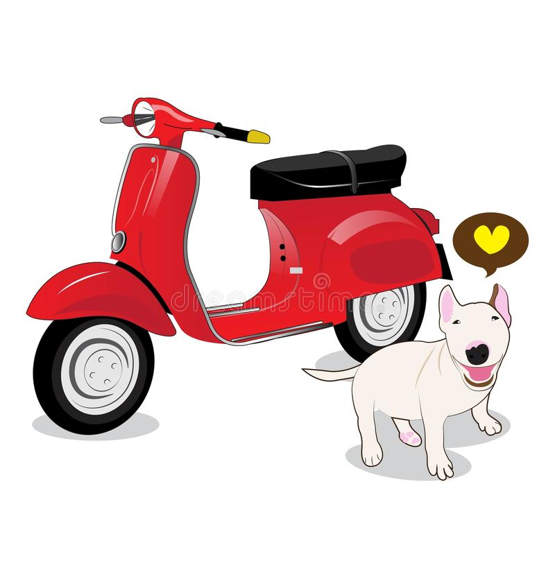Vespa. And Bull Terrier dog on white background royalty free illustration