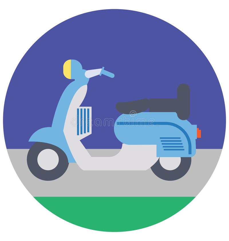Vespa Color Isolated Vector Icon that can be easily modified or edit royalty free illustration