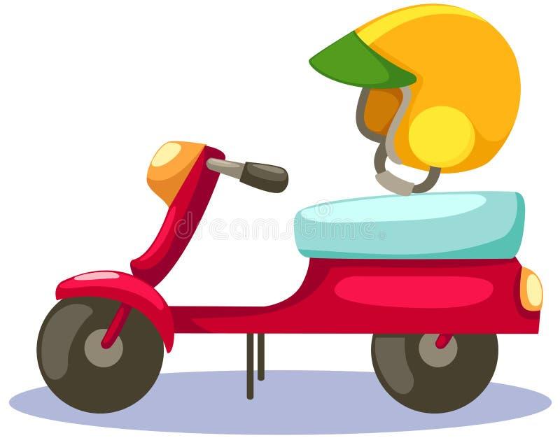 Vespa con el casco en blanco stock de ilustración