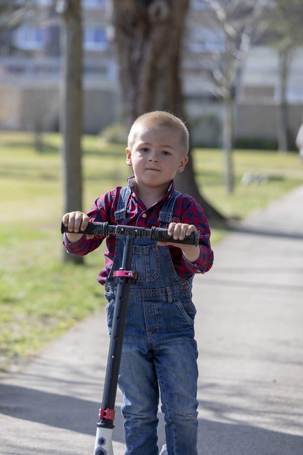 Vespa de la balanza del juego del niño pequeño en la primavera en parque fotografía de archivo libre de regalías