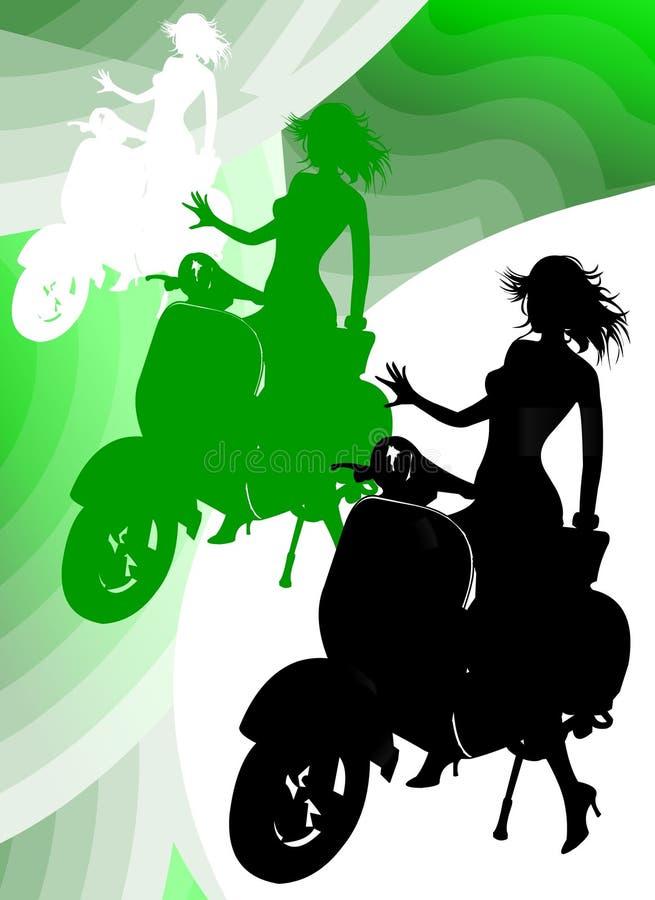 Vespa del montar a caballo de la muchacha stock de ilustración