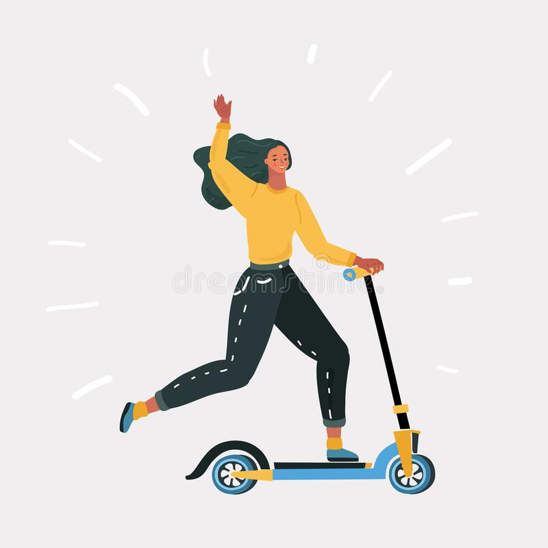 Vespa eléctrica moderna rápida del retroceso del montar a caballo de la mujer libre illustration