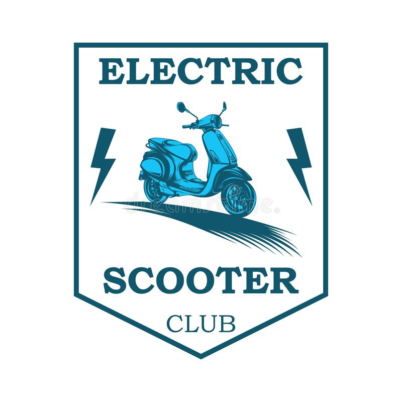 Vespa electric illustration. Vector illustration of electronic scooter. vespa electric club logo vector illustration
