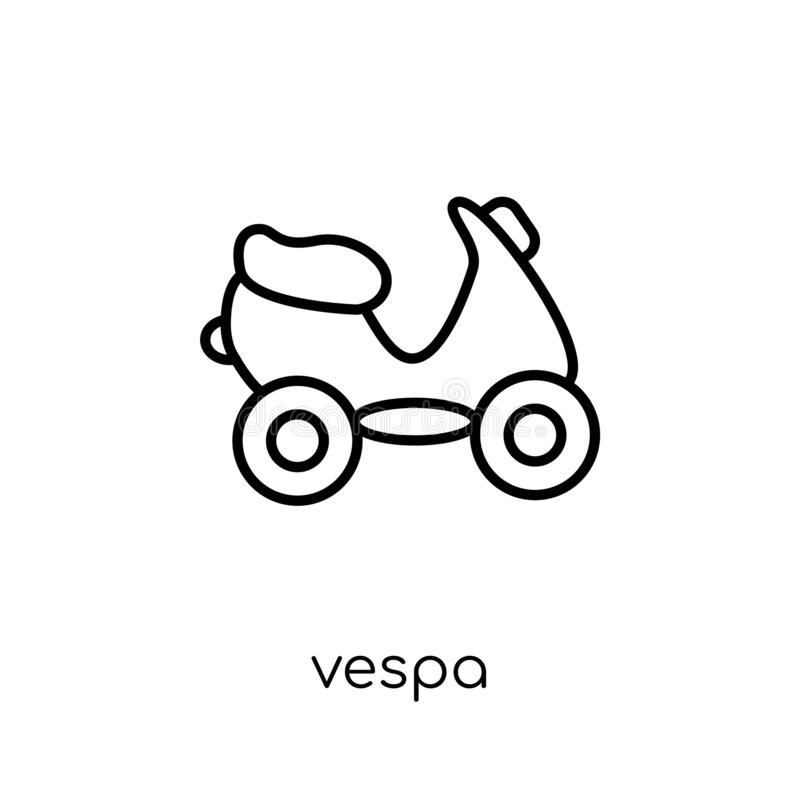 Vespa icon from Transportation collection. Vespa icon. Trendy modern flat linear vector vespa icon on white background from thin line Transportation collection royalty free illustration
