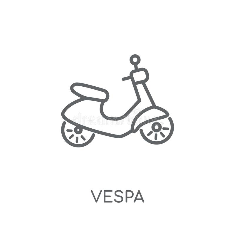 Vespa linear icon. Modern outline Vespa logo concept on white ba. Ckground from Transportation collection. Suitable for use on web apps, mobile apps and print stock illustration
