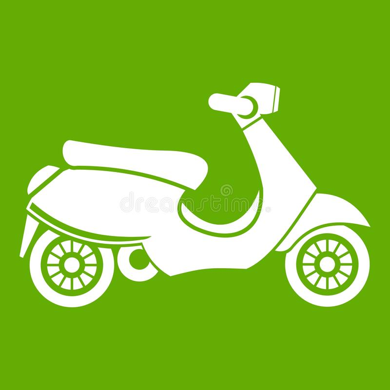 Vespa scooter icon green. Vespa scooter icon white isolated on green background. Vector illustration vector illustration