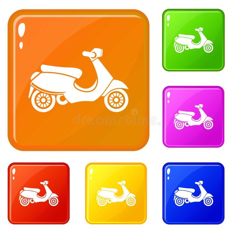 Vespa scooter icons set vector color. Vespa scooter icons set collection vector 6 color isolated on white background royalty free illustration