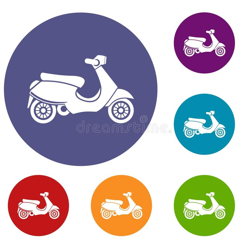 Vespa scooter icons set stock illustration