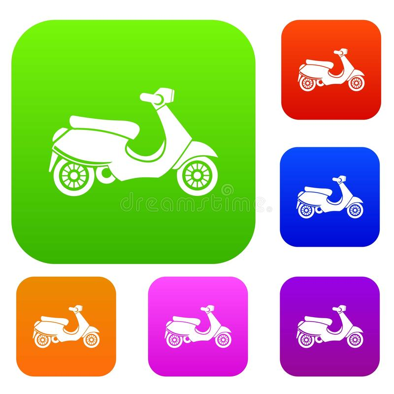 Vespa scooter set collection vector illustration